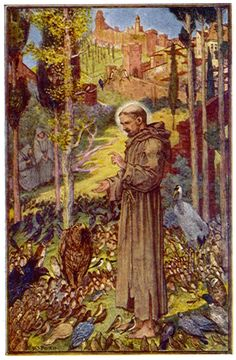 Illustration from THE PREACHER TO THE BIRDS in The Book of Saints and Heroes   by Mrs. Lang