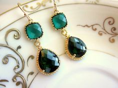 Emerald Green Earrings Gold Pendant Two Tier  Bridesmaid by laalee, $39.00