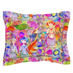 LARGE WHIMSICAL WONDERLAND GARDEN VELVET EFFECT on Sebright by paysmage | Roostery Home Decor Pillow Shams, Pillows, Web 2, Spoonflower, Pillow Covers, Whimsical, Wonderland, Cotton Fabric, Bedding