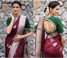Shilpa Reddy in Maroon Benaras Saree - Saree Blouse Patterns