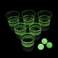 Light up your next beer pong party with this Glow In The Dark Beer Pong Party Pack. Each set includes 24 cups and 3 pong balls that glow in the dark. Pour in your favorite beer, turn out the lights, and let the games begin!