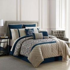 Warrenton Embroidered California King Comforter Set In Blue - Bring a chic sophistication to your bedroom with this Warrenton Embroidered Comforter Set. Adorned with stunning embroidery, it will help create a soft and welcoming retreat in any bedroom. Full Comforter Sets, Bedding Sets, Cream Bedding, Blue Comforter, Queen Bedding, Duvet, Black Bed Linen, Bedding Master Bedroom, Bed Linen Design