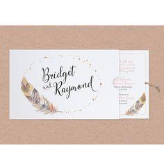 """Edle Hochzeitseinladungen """"Feder"""" - schimmernder PRemiumkarton & edle Folienprägung"""