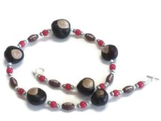 Ohio State, College Football, Team Spirit, Buckeye Necklace, made with Real Buckeyes, NOT PLASTIC BUCKEYES, Team Pride, Football Necklace - pinned by pin4etsy.com