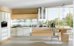 stylish kitchen furniture with minimalist laminate kitchen island feats clear glass window and round chimney extractor fan: the stylish kitc...