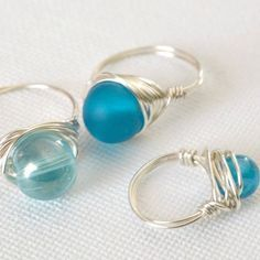 Wrapped Wire Rings - Pretty beads and some wire is all you need to whip up this 5 minute jewellery project