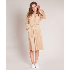 Beige suede knoop jurk Seventies Suede van Vanilia   Dresses Only