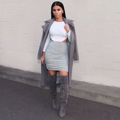 Shades of grey  Yesterday's #OOTD Top & Skirt @hotmiamistyles Coat @missguided Boots @lolashoetiquedolls  #glamrezy #amrezy