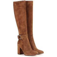 Gianvito Rossi Lawrence Suede Knee-High Boots ($1,595) ❤ liked on Polyvore featuring shoes, boots, botas, brown, s, knee boots, brown knee high boots, gianvito rossi, suede leather boots and brown boots