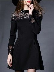 Small Lapel Beading Hollow Out Patchwork Skater-dress