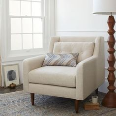 Accent any room of the home with west elm's mid-century modern furniture. Choose from living room pieces, bedroom furniture and dining room sets for your home. Ottoman Furniture, Chair And Ottoman, Upholstered Chairs, Home Furniture, Eames Chairs, Arm Chairs, Furniture Styles, Lounge Chairs, Rustic Furniture