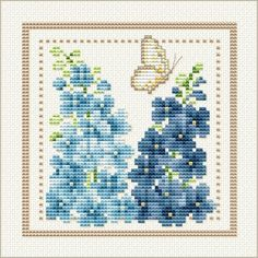 Good Life 2 Go: Free Cross Stitch Chart: Flower of the Month - July - Larkspur Free Cross Stitch Charts, Cross Stitch Freebies, Cross Stitch Love, Cross Stitch Cards, Counted Cross Stitch Patterns, Cross Stitch Designs, Cross Stitching, Cross Stitch Embroidery, Embroidery Patterns
