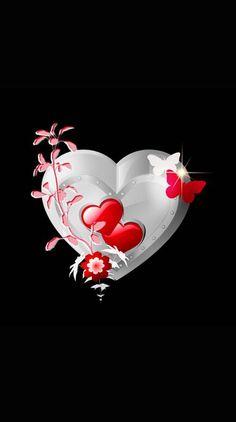 Red & Silver Heart w/ Butterflies Wallpaper. By Artist Unknown. Heart Wallpaper, Apple Wallpaper, Butterfly Wallpaper, Love Wallpaper, Cellphone Wallpaper, Wallpaper Backgrounds, Iphone Wallpaper, Wallpaper Ideas, Beautiful Love Images