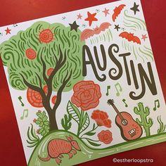 I just love my new Austin print! Get yours today in my @etsy shop! . . .  #illustration #illo #handdrawn #instaart #art #artoflicensing  #artist #artwork #calledtobecreative  #design #graphicdesign #illustratorsofinstagram #creativelifehappylife #createev