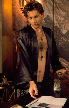 Mmmm. If there's one character easily in my top 3 of David Tennant characters it's Peter Vincent. (It's the tatts, guyliner, those leather pants and the black silk underwear)! Preferably mashed up with Alec Hardy (My no.1) Piers Pomfrey (a close 2nd - it's the grey hair)! — My ultimate fantasy Tennant character! :P Now, dear eyes... can you please stop staring at his... *flails*