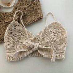 Crochet Summer Tops, Crochet Crop Top, Cute Crochet, Crotchet, Easy Crochet, Crochet Bikini, Knit Crochet, Diy Crochet Projects, Crochet Crafts