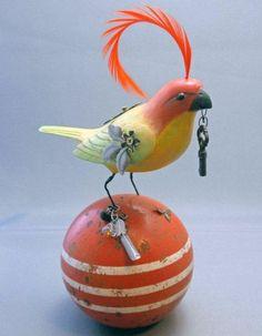 Steampunk Bird on Old Croquet Ball OOAK with by SylviaAndersonEtc, $156.00: