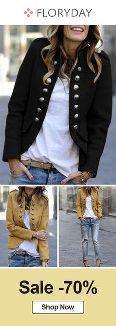 Long sleeve stand buttons pockets jacket, outers, outlook of the day. Summer Club Outfits, Fall Outfits, Casual Outfits, Cute Outfits, Beautiful Outfits, Blue Blazer Outfit, Blazer Outfits, Tomboy Fashion, Fashion Outfits