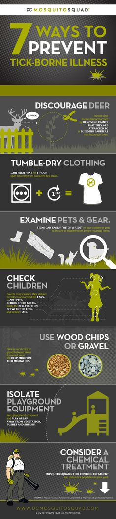 7 Ways To Prevent Tick Borne Illness via @D C Mosquito Squad. 1. Discourage Deer, 2. Tumble-Dry Clothing, 3. Examine Pets & Gear, 4. Check Children, 5. Use Wood Chips or Gravel, 6. Isolate Playground Equipment & 7. Consider a Chemical Treatment from Mosquito Squad. http://dcmosquitosquad.com/in-the-news/7-ways-to-prevent-tick-borne-illness/ #Lyme #Ticks #Prevention