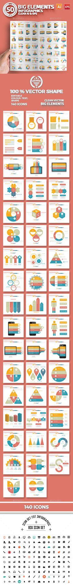 50 Infographics Elements Design Vector EPS, AI Illustrator. Download here…
