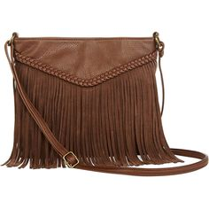 T-Shirt & Jeans™ Braided Fringe Crossbody Bag ($32) ❤ liked on Polyvore featuring bags, handbags, shoulder bags, accessories, brown fringe handbag, bohemian shoulder bag, fringe crossbody, brown cross body purse and brown fringe purse