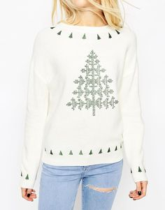 Image 3 of ASOS Embroidered Holidays Tree Sweater