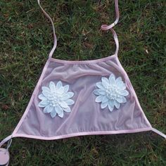 Baby Pink Mesh Halter With Flower Appliqué by KATRINAPAZ on Etsy