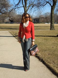 Business Casual w/a Red Blazer, Scarf, Shades and Jeans  http://understandtheglam.tumblr.com