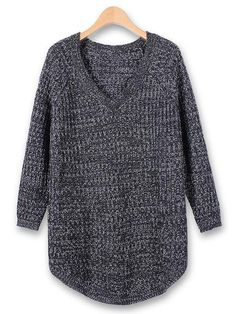 Casual Loose Long Sleeve V-neck Pullover Knitted Sweater