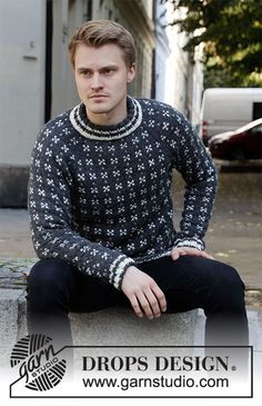 Knitted jumper for men with raglan in DROPS Alaska. The piece is worked top down with Nordic pattern. Sizes S - XXXL. Knitting Patterns Free, Free Knitting, Crochet Patterns, Drops Design, Nordic Pattern, Magazine Drops, Aran Weight Yarn, Summer Knitting, Labor