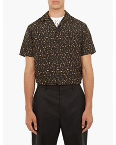 649€ Lanvin   Multicolor Black Footsteps Bowling Shirt for Men   Lyst  Chemises Bowling, ecb9daf0fbb