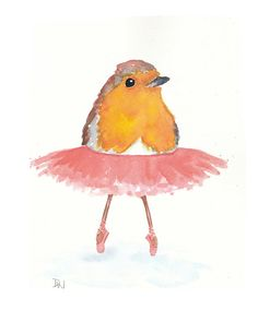 Bird Watercolor  Original Painting Ballet Art by WaterInMyPaint, $40.00