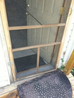 Old Screen Door. Leave Bottom Half Of Screen Free Attach Magnets To Bottom  Of It And Wood Frame. Instant Doggy Door That Snaps Shut On Its Own!