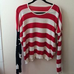 Brandy Melville sweater American flag Brandy Melville sweater! Never worn, still in perfect condition! Super comfortable. One size fits all, but is pretty big, could fit S-L! Brandy Melville Tops