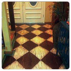 Harlequin pattern painted on a plywood subfloor, distressed, glazed with stained, clearcoated with oil based clear coat. Burnt Plywood Floor, Stained Plywood Floors, Plywood Flooring Diy, Plywood Subfloor, Plywood Table, Painted Wood Floors, Light Hardwood Floors, Flooring Ideas, Home Decor Furniture