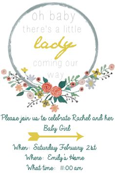 Free Baby shower invitation template and floral wreath clip art. Perfect if you want to make a unique and beautiful invite! Print for .25 cents at staples on cardstock!