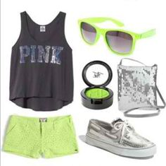 A fashion look from May 2012 featuring victoria secret tank tops, laced shorts and boat style shoes. Browse and shop related looks. Pink Outfits, Summer Outfits, Trendy Outfits, Cute Fashion, Womens Fashion, Teen Fashion, Runway Fashion, Site Nike, Oui Oui