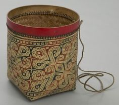 Object Name: Basket Place Made: Asia: South East Asia, Malaysia, Borneo, Sarawak People: Iban Period: 20th century Date: 1900 - 1986 Dimensions: L 17.5 cm x W 10 cm x 16 cm (dia.) Materials: Bamboo leaf; jute Techniques: Basket woven; braided