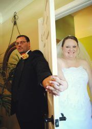We never saw each other before the wedding, but we did get to hold hands for this picture, this was my favorite picture