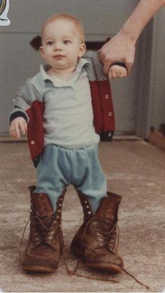 Twitter / adamlambert: Dad teaching how to walk in boots)