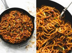 Spicy kung pao noodles are a cinch to whip up in just 20 minutes with the best sweet and spicy kung pao sauce. Easily add chicken, shrimp, or beef to amp this side up up to a full meal.   lecremedelacrumb.com