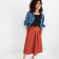 Palisade Button-Front Midi Skirt : shopmadewell midi & maxi   Madewell