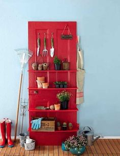 red painted shelves made of old door
