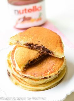 These light and fluffy egg free pancakes with an ooey-gooey Nutella centre are a crowd pleaser. They're great for breakfast and take less than 15 minutes to make! A super simple recipe without eggs...