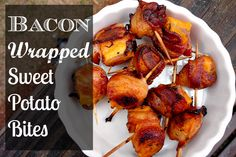 YUM. Bacon Wrapped Sweet Potato Bites! Sounds perfect for Super Bowl Sunday. www.foodrenegade.com