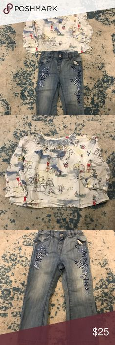 Toddler Girl Next UK Jeans Outfit 2 pc outfit by Next UK Lighthouse Blouse Embroidered Jeans Excellent condition No rips, stains and/or discoloration Comes from pet and smoke free home Purchased from London Next UK Matching Sets