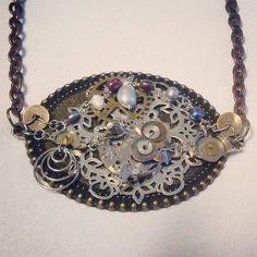 Steampunk necklace with watch parts and pearls #steampunkstyle #steampunk #steampunkjewelry #gothic #mixedmetal #watchparts #gears #chains #pearls #copper #texasartist #steampunkart #dallasartist #dfwartist #denton #dallas #dfw #fortworth #austin #ftworth #atx #handmadejewelry #customjewelry #smallbusiness #amandanancedesigns
