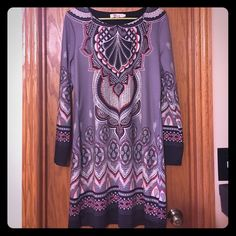 Boutique Aryeh Indian Print Dress Purchased at small boutique in MN.  Indian print dress/tunic.  Has some fading at the wrists as shown in photo.  95% polyester, 5% spandex.  Smoke free home.  No rips, tears, or stains.  EUC Aryeh Dresses Midi