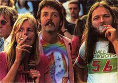 Paul and Linda McCartney and David Gilmour