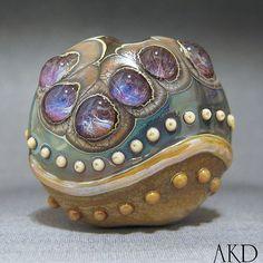 OOAK Lampwork Focal Lentil Bead Artisan Glass AKDesigns Wicked Lavender via Etsy
